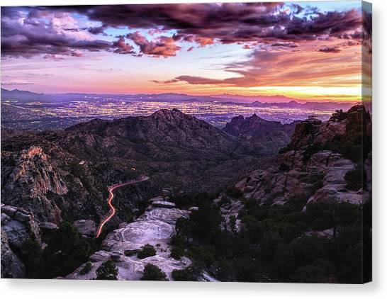 Catalina Highway Sunset And Tucson City Lights Canvas Print