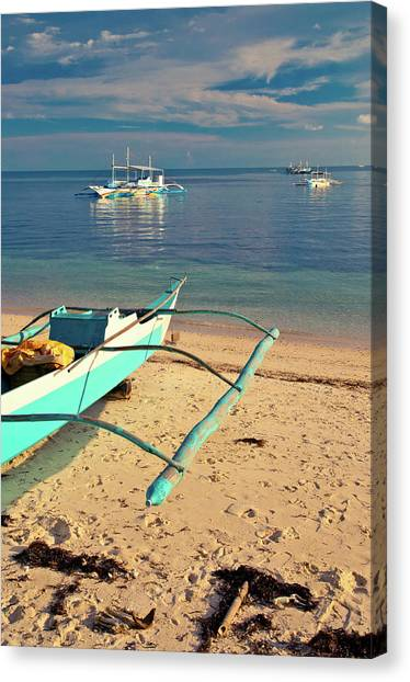 Catamarans On Sea Canvas Print by Flash Parker