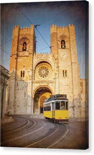 Romanesque Art Canvas Print - Cathedral And Yellow Tram Lisbon Portugal  by Carol Japp