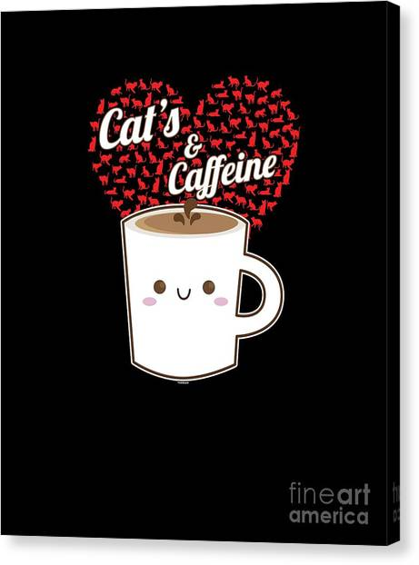 Canvas Print - Cats And Coffee Lovers Caffeine Beverages Drink Coffee Brew Gift by Thomas Larch