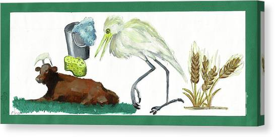 Cattle Egret Canvas Print by Sigalit Aharoni