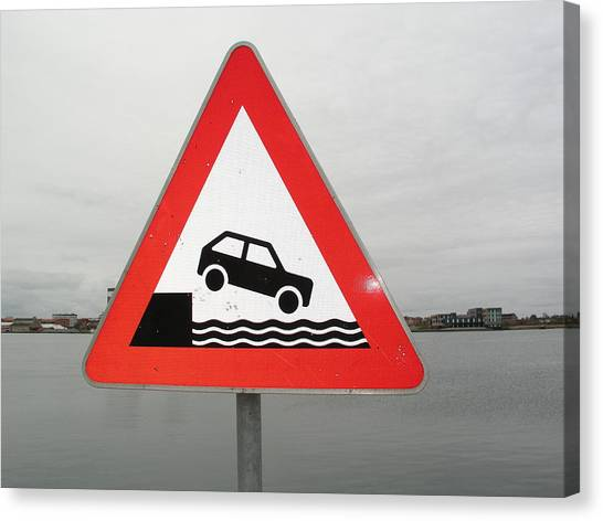 Placard Canvas Print - Caution Sign At Harbor by Simon Wedege