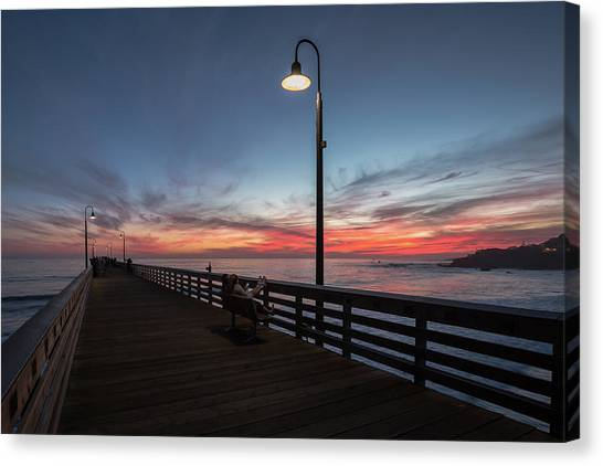Cayucos Pier Sunset Canvas Print