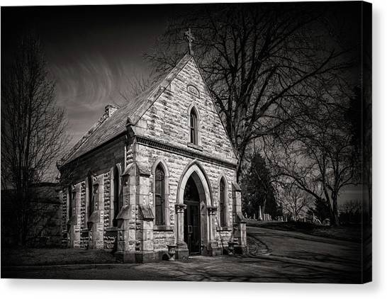 Cemetery Canvas Print - Cedar Hill Chapel by Tom Mc Nemar