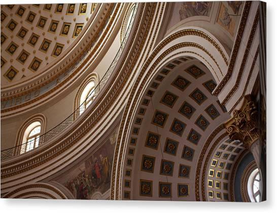 Ceiling Of Mosta Church,  Mosta Canvas Print by Latitudestock - Emma Durnford