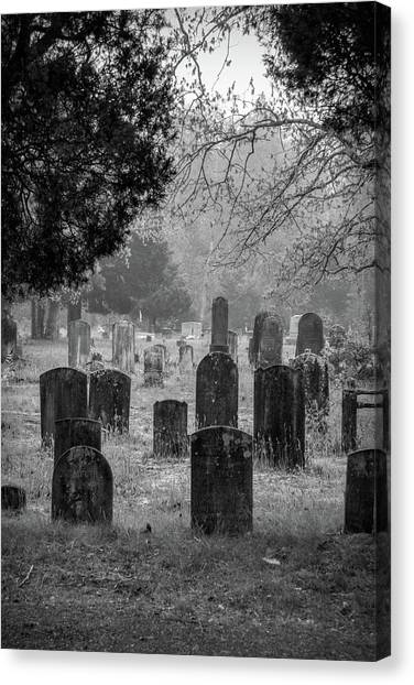 Canvas Print featuring the photograph Cemetery In The Pines Bw by Kristia Adams