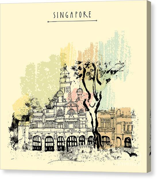 Bricks Canvas Print - Central Fire Station In Singapore by Babayuka