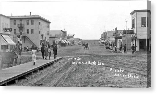China Town Canvas Print - Centre Street Assiniboia  Sasketchewan  Ca  1915 by Celestial Images