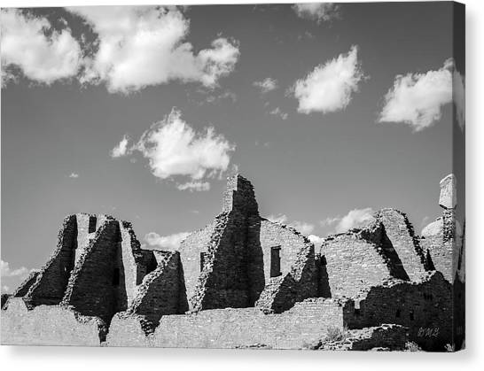 Canvas Print featuring the photograph Chaco Ruins I Bw by David Gordon