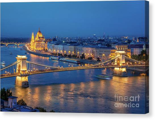 Danube Canvas Print - Chain Bridge And Budapest Parliament At Night by Delphimages Photo Creations