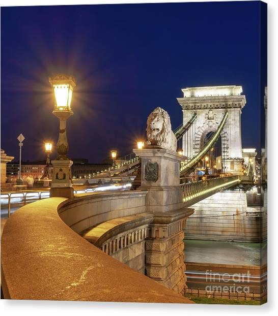 Danube Canvas Print - Chain Bridge, Budapest by Delphimages Photo Creations