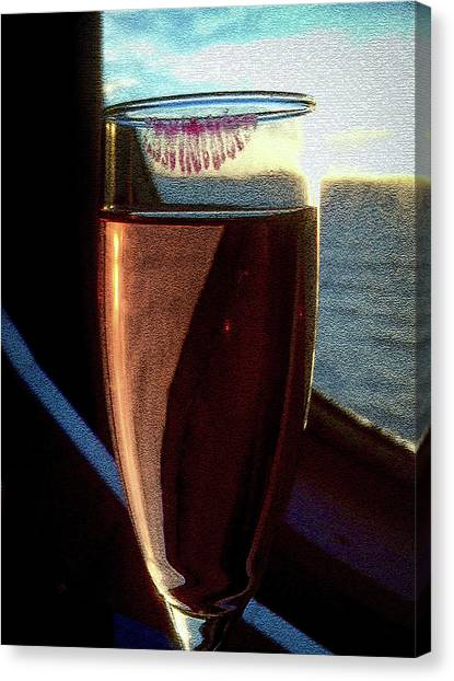 Canvas Print featuring the photograph Champagne Glass Lipstick by Bill Swartwout Fine Art Photography