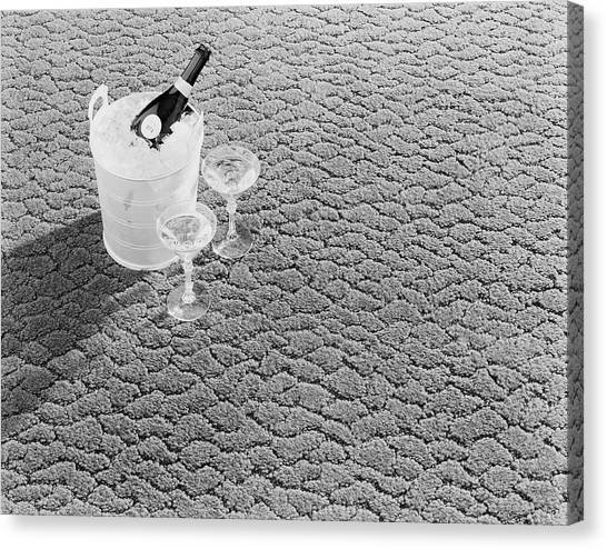 Champagne In Ice Bucket With Glasses Canvas Print