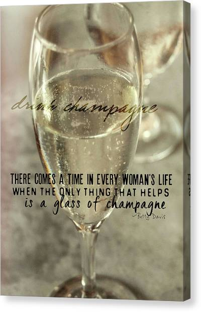 Champagne Therapy Quote Canvas Print by JAMART Photography