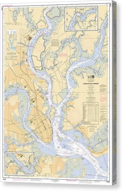 Charleston Harbor, Noaa Chart 11524 Canvas Print