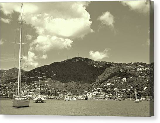 Charlotte Amalie Harbor In Sepia Canvas Print