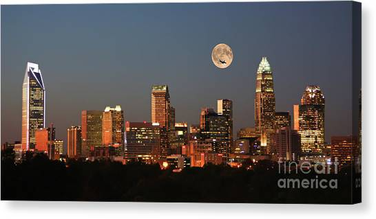 Charlotte City Skyline At Sunset Canvas Print