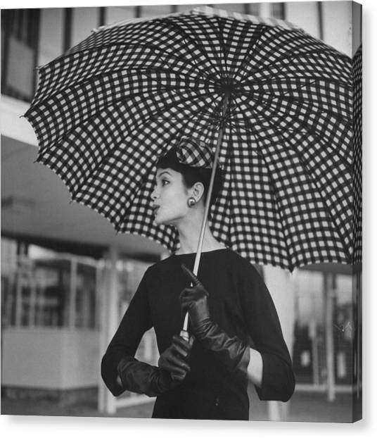 Checked Parasol, Used At The Racetrack Canvas Print by Nina Leen