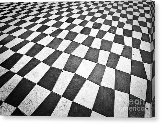Checker Canvas Print - Checkered Pavement by Delphimages Photo Creations