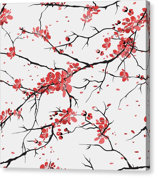 Cherry Or Sakura Seamless Pattern Canvas Print by Sofiav