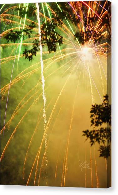 Yellow Fireworks Canvas Print