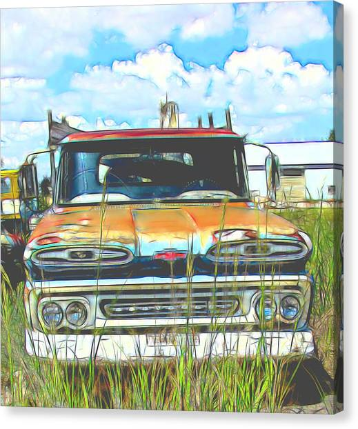 Rusty Truck Canvas Print - Chevy Truck In The Junkyard by Cathy Anderson