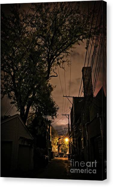 Brick House Canvas Print - Chicago Alley At Night by Bruno Passigatti