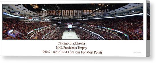 Patrick Kane Canvas Print - Chicago Blackhawks Seasons With Most Points Panorama by Thomas Woolworth