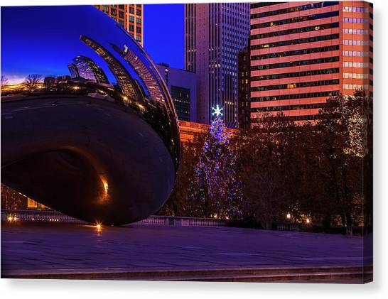 Cloudgate Canvas Print - Chicago Christmas by Andrew Soundarajan