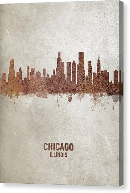 Chicago Skyline Canvas Print - Chicago Illinois Rust Skyline by Michael Tompsett