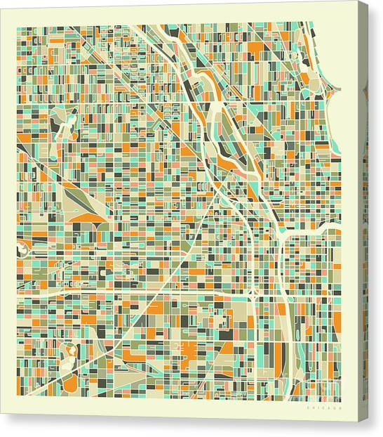 City Scenes Canvas Print - Chicago Map 1 by Jazzberry Blue