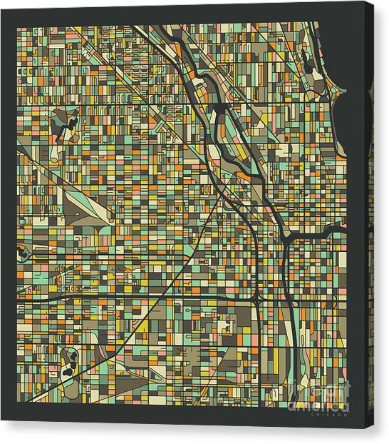 Chicago Map 2 Canvas Print by Jazzberry Blue