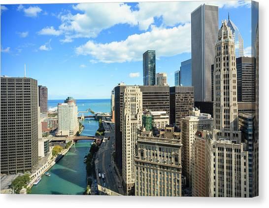 Chicago River And Lake Michigan Canvas Print