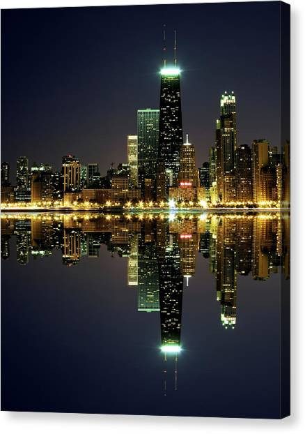 Chicago Skyline Reflected On Lake Canvas Print
