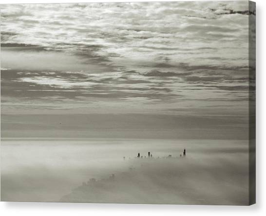 Chicago Skyline Rises From Fog Canvas Print