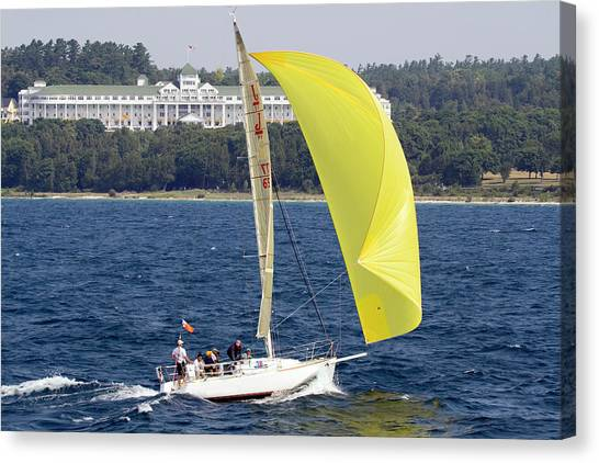 Chicago To Mackinac Yacht Race Sailboat With Grand Hotel Canvas Print