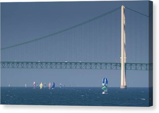 Chicago To Mackinac Yacht Race Sailboats With Mackinac Bridge Canvas Print