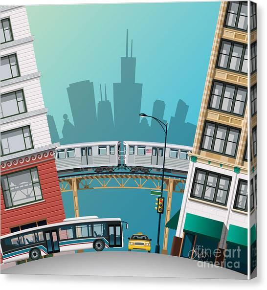Old Train Canvas Print - Chicago Traffic by Nikola Knezevic