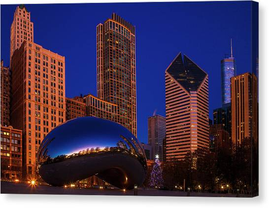 Cloudgate Canvas Print - Chicago's Bean At Chistmas by Andrew Soundarajan