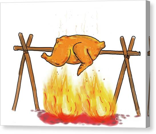 Cookout Canvas Print - Chicken Roasting Barbecue Drawing  by Aloysius Patrimonio