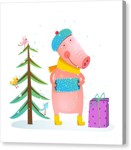 Presents Canvas Print - Childish Cheerful Little Pig In Winter by Popmarleo