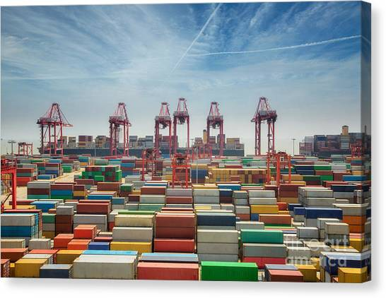 Freight Canvas Print - China, Shanghai Harber Container Box by Anek.soowannaphoom