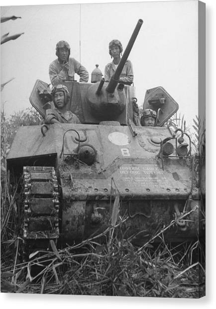 Chinese Army In Tank During Burma Campaign Canvas Print by William Vandivert
