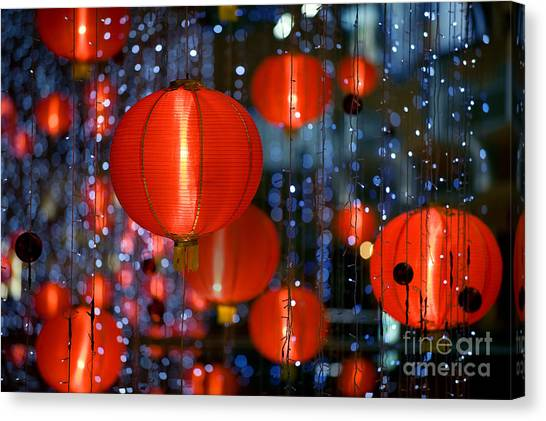 Paper Canvas Print - Chinese Paper Lantern Shallow Depth Of by Beltsazar