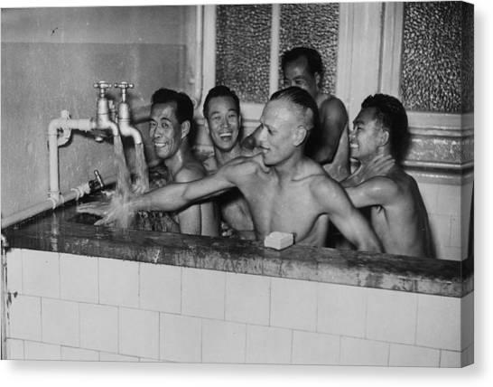 Stamford Bridge Canvas Print - Chinese Team Bath by Fox Photos/william Vanderson