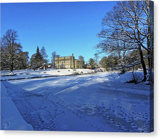 Chorley. Astley Hall In The Snow Canvas Print