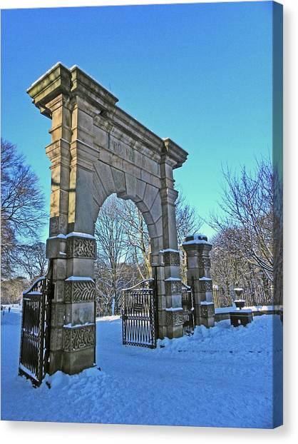 Chorley. Gates In The Snow Canvas Print