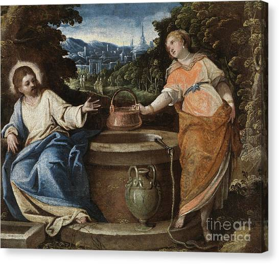 Messiah Canvas Print - Christ And The Woman Of Samaria by Jacopo Robusti Tintoretto