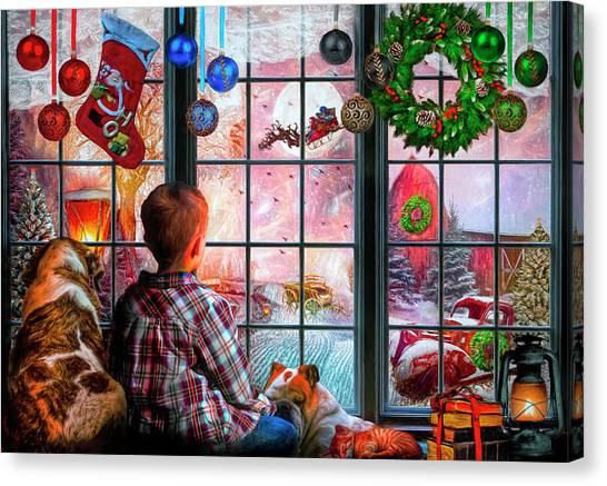 Rusty Truck Canvas Print - Christmas Dreams by Debra and Dave Vanderlaan