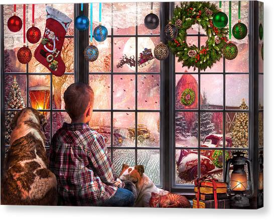 Rusty Truck Canvas Print - Christmas Eve Dreams by Debra and Dave Vanderlaan